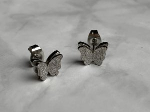 Ear stud silver-colored-light grey