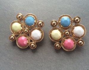 Ohrringe Stecker Gold Bunt Nude Blau Pink Gelb