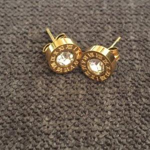 Ohrringe Stecker rund gold aus Edelstahl