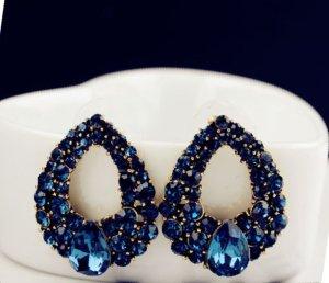 Ohrringe Tropfenform Strass dunkelblau und gold  Roxi