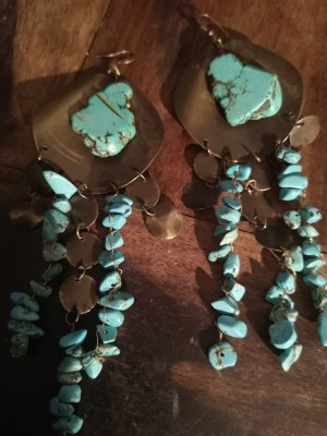Pendant d'oreille bronze-turquoise