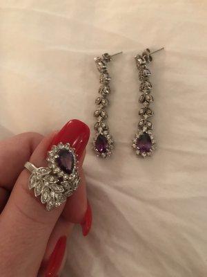 Ohrringe und Ring als Set lila Silber