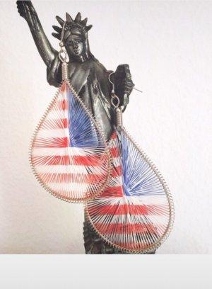 Ohrringe USA Statement rot weiß blau Silber