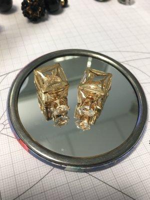 Ohrringe Viereckig Doppelstecker gold