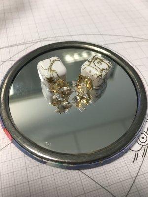Ohrringe viereckig gold weiß Ohrstecker Doppelstecker doppelseitig zweiseitig