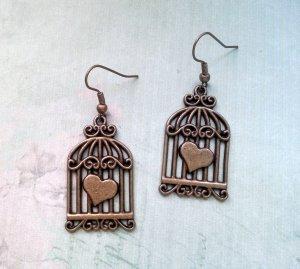 Ohrringe Vogelkäfig Bronzefarben