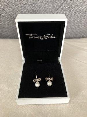 Thomas Sabo Boucles d'oreilles en perles blanc-blanc cassé