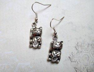 Ohrringe Winkekatze Silber Vintage