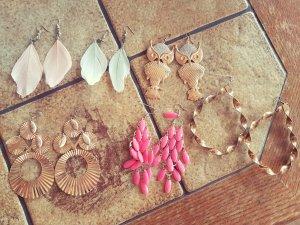 Boucles d'oreilles en perles blanc-rose matériel synthétique