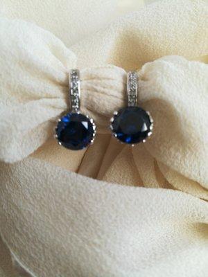 Ohrringer. Silber 925. Mit Swarowski Kristall in blau. Neu.