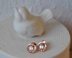 Ohrstecker 925 Silber Vergoldet Rotgold mit Zirkonia
