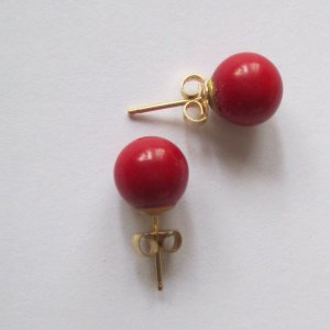 Ear stud brick red-dark red real gold