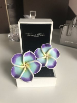 Ohrstecker Blume Neu Türkis Lila Flower