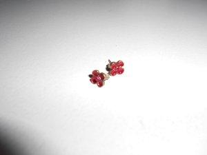Ohrstecker Blume rot mit Stein