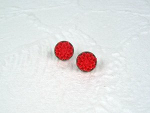 Ear stud bronze-colored-red metal