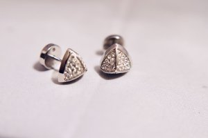 Fossil Ear stud white-silver-colored