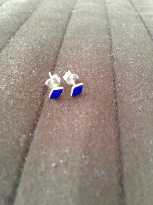 Ohrstecker eckig blau silber plus 2. Paar