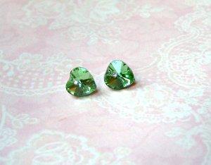 Zarcillo color plata-verde claro vidrio