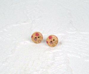 Ohrstecker Holzknopf kleine Blumen Holz