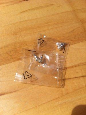 Ohrstecker in Silber in zwei Variationen in Originalverpackung: Perle Steinchen