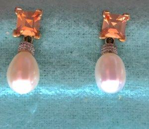 Earring light grey-gold orange