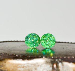 Ohrstecker Ohrringe Druzy Drusen grün silber 12mm