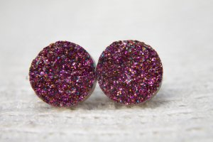 Ohrstecker Ohrringe Druzy Drusen lila pink 12mm
