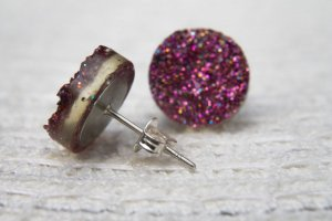 Ohrstecker Ohrringe Druzy Drusen pink bunt lila 12mm