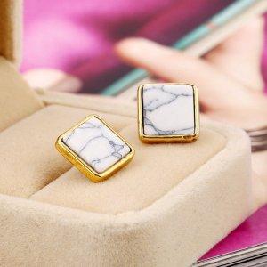 Ohrstecker/Ohrringe in Marmor-Optik - gold/weiß