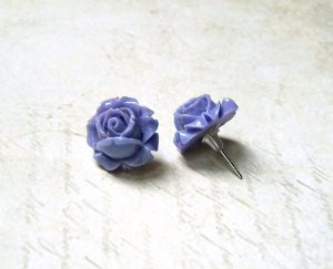 Zarcillo púrpura-color plata acero inoxidable