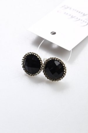 Ear stud black-silver-colored elegant