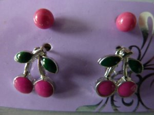 Ohrstecker Set pink Kirschen Ohrringe silber