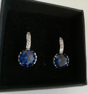 Orecchino a vite argento-blu