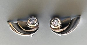 Ear stud silver-colored-rose-gold-coloured real silver
