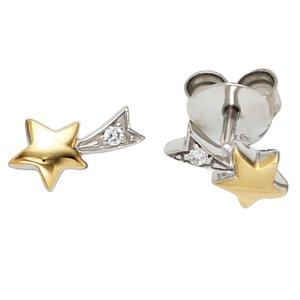 Ohrstecker Stern Sterne 925 Silber bicolor vergoldet 2 Zirkonia Ohrringe Stecker