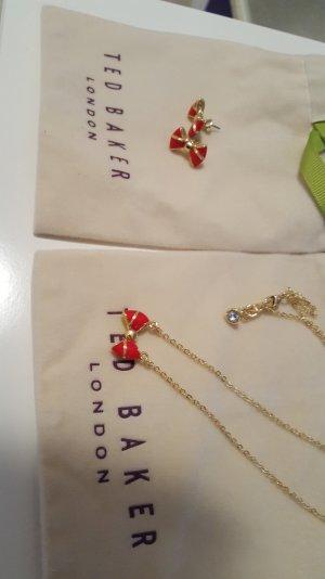 ohrstecker und halskette von ted baker in gold mit Schleife in rot
