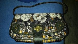 OILILY Clutch / mini-Handtasche / Handbag * Schwarz Grau Oker-gelb