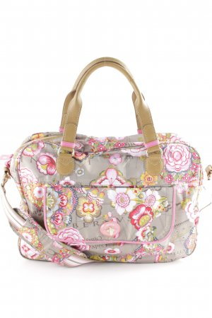 Oilily Handbag grey brown-pink floral pattern business style