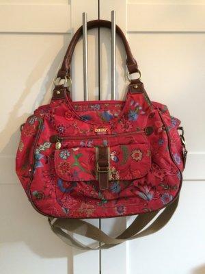 Oilily Handtasche mit buntem Print und Lederhenkeln