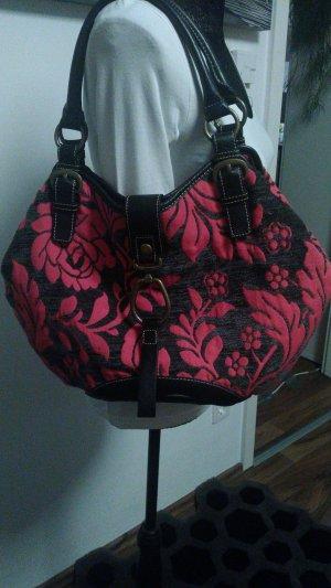 Oilily Handtasche mit Stoff/Samt Muster in Magenta/Grau