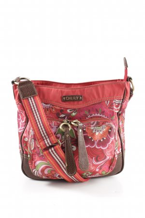 Oilily Schultertasche rot-braun abstraktes Muster Casual-Look