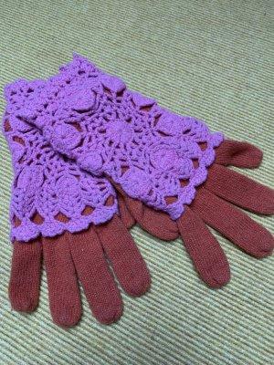 Oilily Gants en tricot orange fluo-rose fluo coton