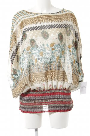okay Kurzarm-Bluse abstraktes Muster klassischer Stil
