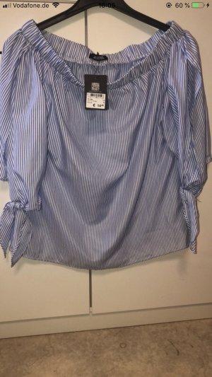 One Shoulder Shirt white-steel blue