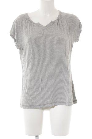 Okha T-Shirt grau-wollweiß Streifenmuster Casual-Look
