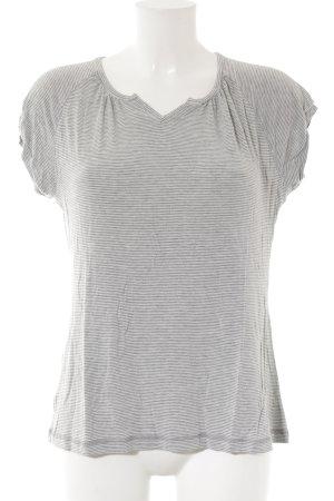 Okha T-Shirt hellgrau-anthrazit Streifenmuster Casual-Look