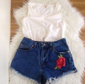 Oklahoma Highwaist Jeans Shorts Blumen Stickerei S 36 Rosen Vintage Diy