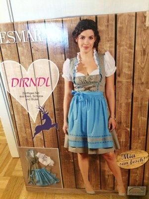 Oktoberfest Dirndl Set Kleid Bluse Schürze in blau