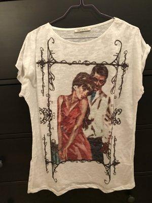 Olé T-Shirt Spitzenbesetzt M 38 weiß mit Motiv und Strasssteine