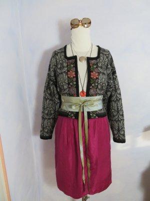 Veste en tricot argenté-gris anthracite laine vierge